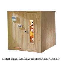 Elementsauna HALMSTAD BioS Exklusiv mit BioAktiv Ofen, Klimasteuerung, Ganzglast�r